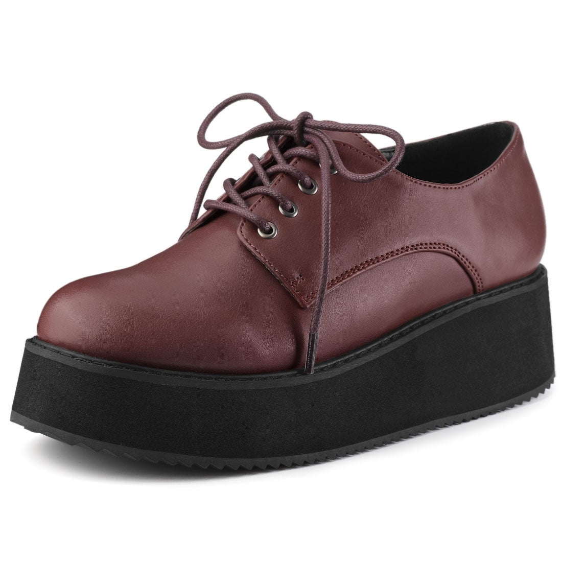 Round Toe Lace Up Flatform Oxford Shoes