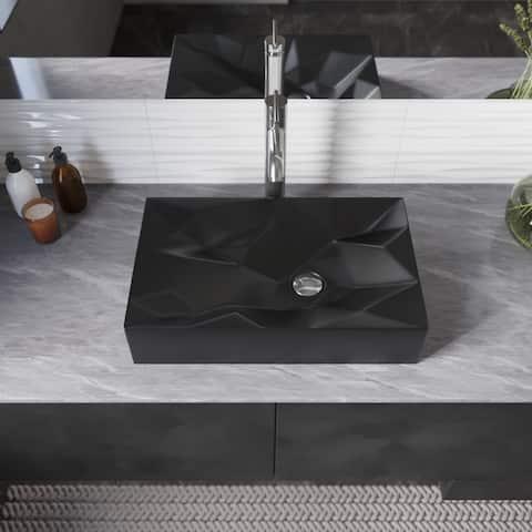 R2-5034-MB Porcelain Vessel Bathroom Sink and C Pop-Up Drain