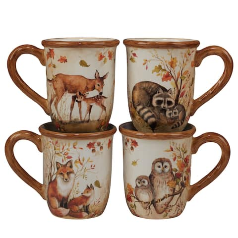 Certified International Pine Forest 16 oz. Mugs, Set of 4