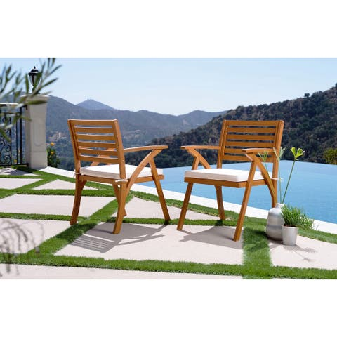 Caulwell Natural Ladder Back Outdoor Arm Chairs (Set of 2)