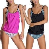 Women Fashion Flower Print Sleeveless Tankini Summer hot Panties Swimwear Bikini