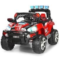 Costway 12V Kids Ride On Truck Car SUV MP3 RC Remote Control w/ LED Lights Music - Red