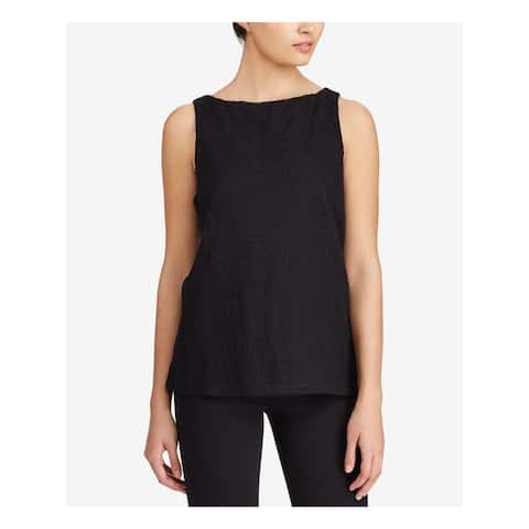 Ralph Lauren Womens Black Sleeveless Boat Neck Top Size XS