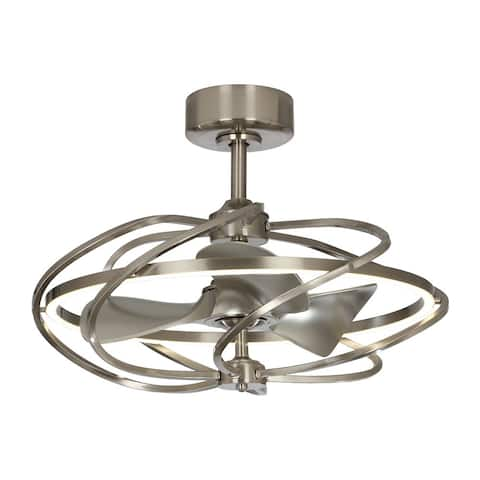27-inch Satin Nickel Reversible LED Ceiling Fan with Remote - 27 Inches
