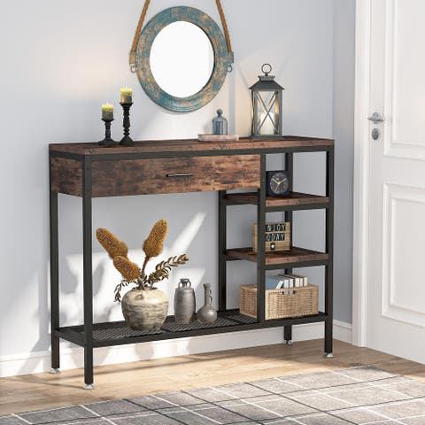 Entry Console Table, Entryway Sofa Table with Drawers and Storage Shelf, Rustic