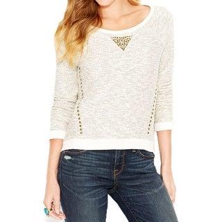 Lucky Brand Womens Pullover Sweater Metallic Studded