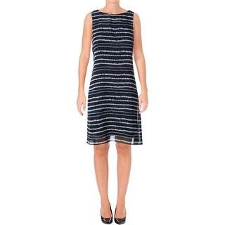 Lauren Ralph Lauren Womens Cocktail Dress Sleeveless Striped