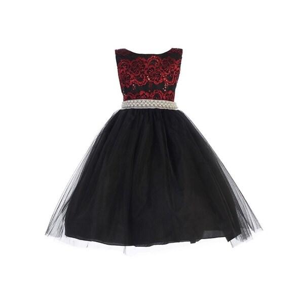 2780817dcdf Shop Ellie Kids Little Girls Red Black Pearl Taffeta Christmas Flower Girl  Dress - Free Shipping On Orders Over $45 - Overstock - 24121980