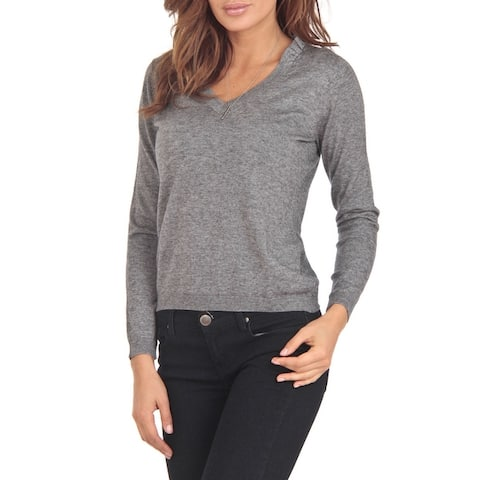 Cashmere Blend Grey V-Neck Sweater
