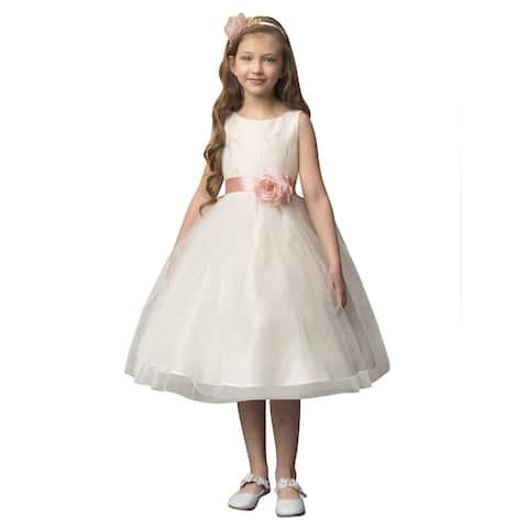 Petite Adele Yellow Jacquard Tulle Tea Length Flower Girl Dress Little Girls