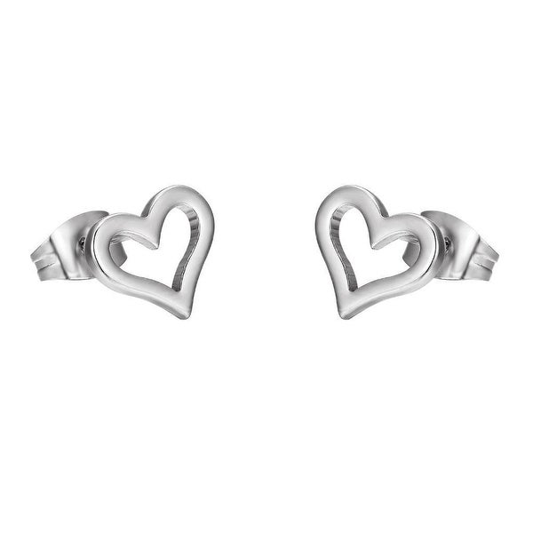 Ladies Heart Shape Earrings Silver Stainless Steel 9mm Womens Gift
