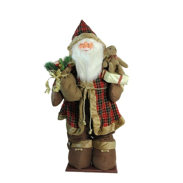 5' Life-Size Inflatable Musical Santa Claus Christmas Figure with Cool White LED Lights - brown