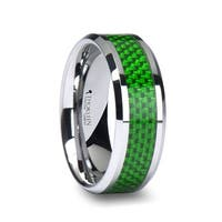 THORSTEN - VERMONT Tungsten Wedding Band with Emerald Green Carbon Fiber Inlay