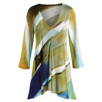 Women's Tunic Top - Hand-Painted Brilliant Layers Long Blouse