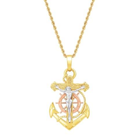 Eternity Gold Mariner's Cross Pendant in 14K Three-Tone Gold