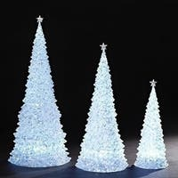 Set of 2 White 6 Piece Christmas Decoration Glittering LED Table Top Trees 20""