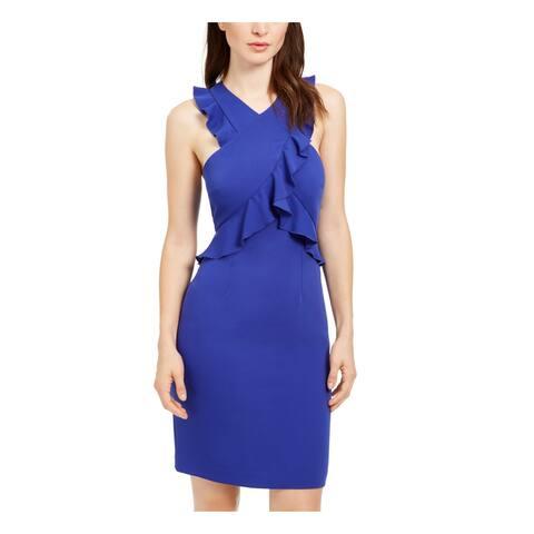 TRINA TURK Womens Blue Sleeveless Short Ruffled Evening Dress Size 0