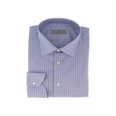 Canali Blue Check Formal Shirts