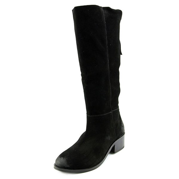 Naughty Monkey Stride Women Round Toe Leather Black Knee High Boot