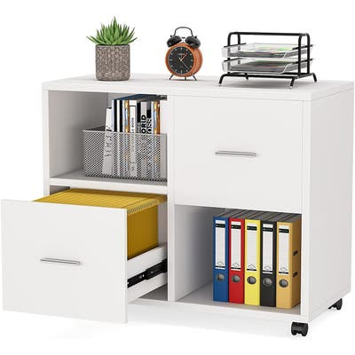Mobile Lateral File Cabinet with 2 Drawer Letter Size and Open Storage Shelves