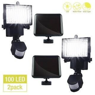 eToplighting Security LED Flood Light with Motion Sensor and Dusk to Dawn Solar Panel - Black