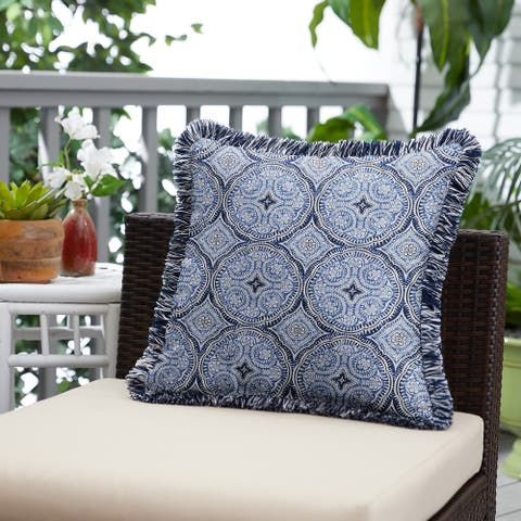 Blue Medallion Indoor/Outdoor Square Pillow with Fringe