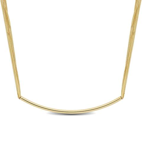 Miadora 18k Yellow Gold Multi-Strand Curved Bar Necklace