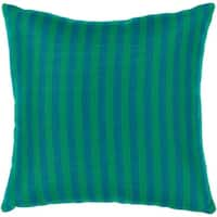 "20"" Sunbrella Classic Blue and Green Striped Indoor/Outdoor Decorative Throw Pillow"