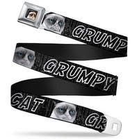 Grumpy Cat Face Full Color Black Grumpy Cat W Face Close Up Black Gray Cat Seatbelt Belt