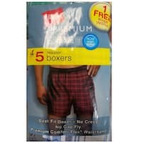 Hanes Men's 5-Pack Inside Exposed Waistband Woven Boxers, Assorted, Medium