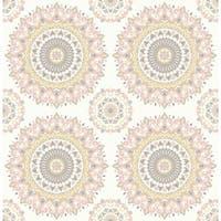 Brewster 1014-001805 Gemma Light Pink Boho Medallion Wallpaper - gemma light pink boho - N/A