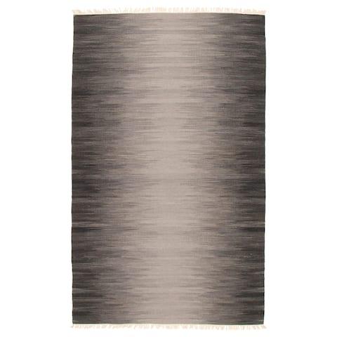ECARPETGALLERY Flat-weave Ankara FW Dark Grey Wool Kilim - 5'0 x 7'11