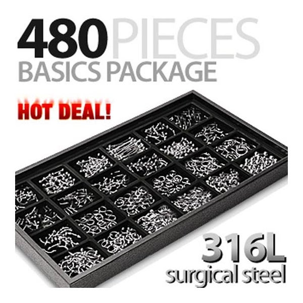 480 Pieces of Surgical Steel Basics Starter Package with Free Display Tray