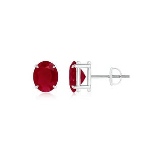 Angara Claw Set Solitaire Oval Ruby Stud Earrings