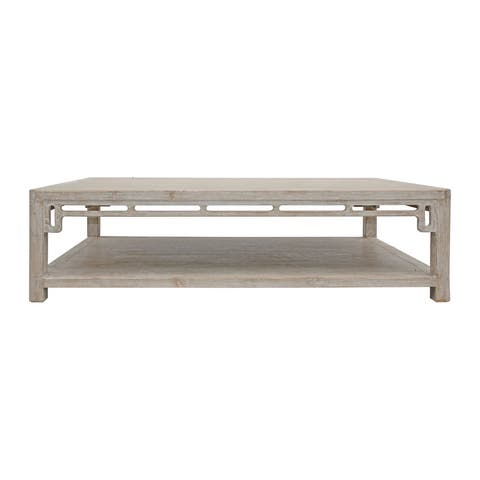 Lily's Living Peking Ming Arch Coffee Table Weathered White Wash, 18 Inch Tall