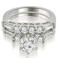 1.35 cttw. 14K White Gold Baguette and Round Diamond Bridal Set