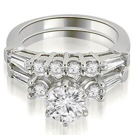 1.60 cttw. 14K White Gold Baguette and Round Diamond Bridal Set