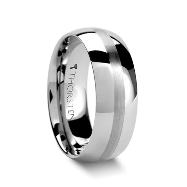 BELLATOR Domed with Brushed Stripe Tungsten Wedding Ring - Silver