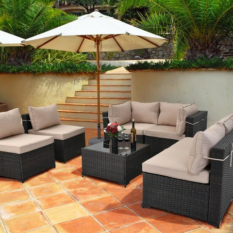 Cushioned 7-piece Conversation Sectional Patio Group Furniture