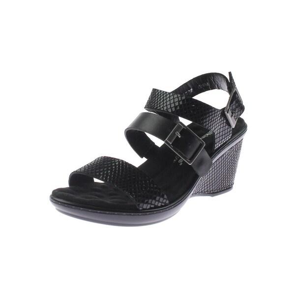 Walking Cradles Womens Lean Wedge Sandals Snake Embossed Faux Leather - 5.5 medium (b,m)