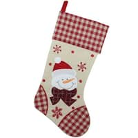 "17"" Burlap Embroidered Snowman Christmas Stocking with Red Gingham Cuff - brown"