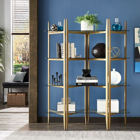 Tove Gold Finish Metal Bookcase with Glass Shelves by iNSPIRE Q Bold - Bookshelf