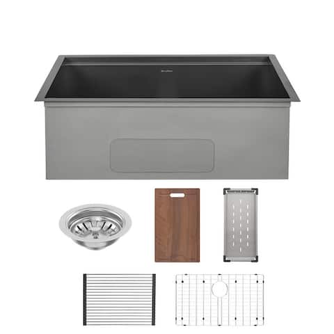Tourner 30 x 19 Stainless Steel, Single Basin, Undermount Kitchen Workstation Sink
