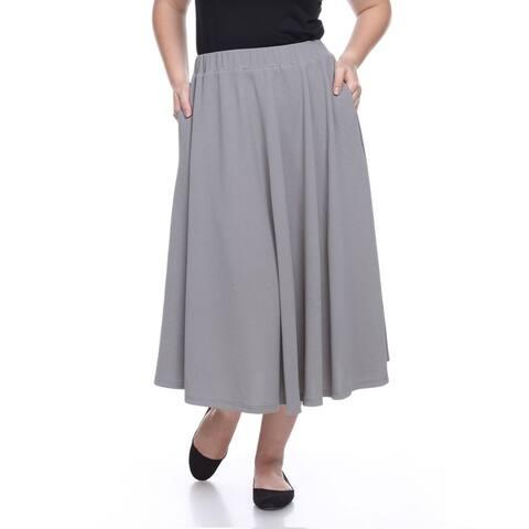 Plus Size Tasmin Flare Midi Skirt - Grey
