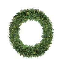 5' Pre-Lit Buffalo Fir Commercial Artificial Christmas Wreath - Warm White LED Lights - green