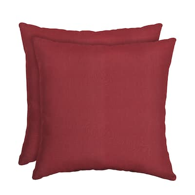 Arden Selections Caliente Canvas Texture Outdoor Square Pillow 2-Pack - 16 in L x 16 in W x 5 in H