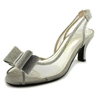 Caparros Summer Women Peep-Toe Synthetic Silver Slingback Heel