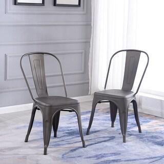 Belleze Indoor / Outdoor Bistro Dining Chair Stackable Highback Chic Cafe Side Chairs Set of (2), Bronze