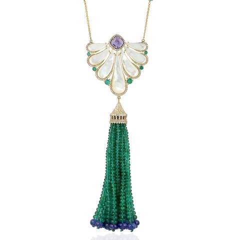 18kt Gold Diamond Emerald Mother Of Pearl Tanzanite Lariat Necklace Tassel Jewelry With Jewelry Box
