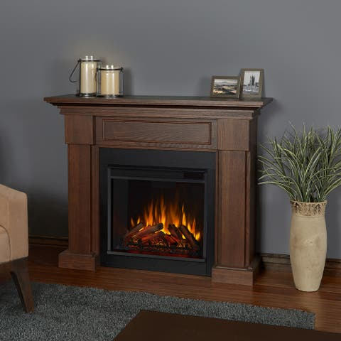 Hillcrest Electric Fireplace Chestnut Oak - 48.4L x 13.9W x 38.6H